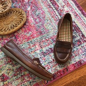 Sperry top sider brown leather penny loafers